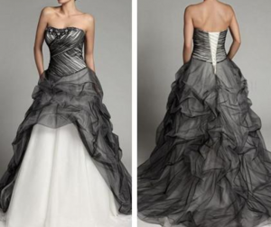 cheap looking strapless wedding gown